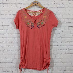 💎 Stephanie Rogers Floral Embroidered Tee Coral L